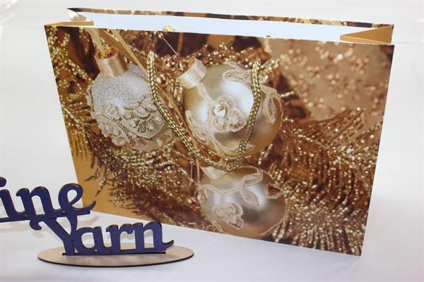 Пакет подарочный новогодний 30*21*9 см - фото 19837