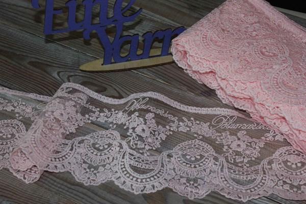 Кружево на жесткой сетке матовая нить арт.TBY.BL.104 шир.130мм цвет розовый - фото 32982