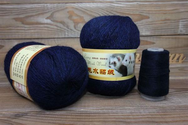 Пряжа Пух норки цвет 069 (темно синий) Китай - фото 37920