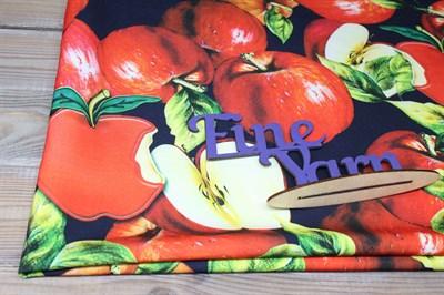 Трикотаж Барби Яблоки на синем
