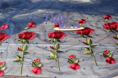 Сетка вышивка с бусинами Розы василек