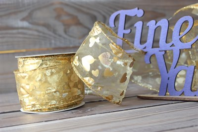 Лента органза 63 мм Золото сердечки