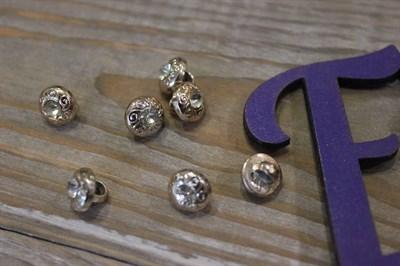 Пуговицы на ножке с кристаллом золото 10 мм