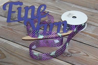 Лента капроновая с рисунком 25 мм Горох на фиолете