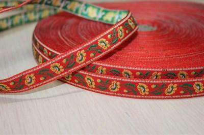 Лента отделочная жаккард 18 мм красный