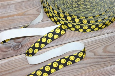 Резинка Смайл желтый на черном 25 мм