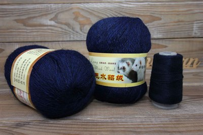 Пряжа Пух норки цвет 069 (темно синий) Китай