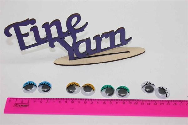 Глазки для игрушек бегающие с ресничками 24 мм - фото 17143