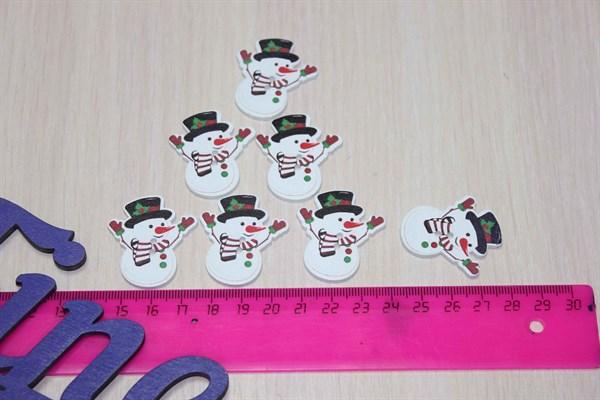 Пуговицы Снеговик в шляпе - фото 25767