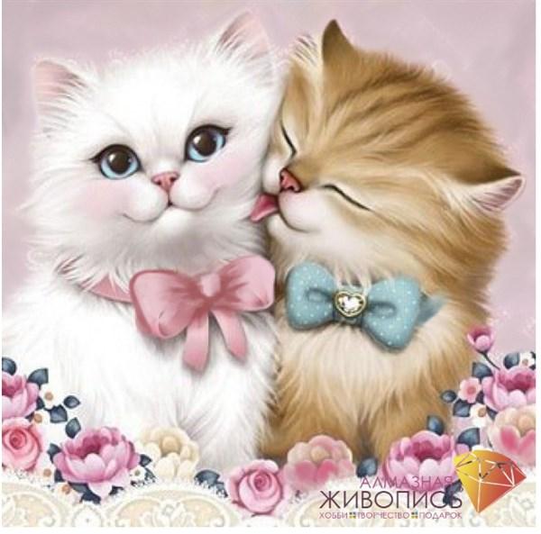 """Картина стразами (набор) """"Кот и кошка"""" - фото 26825"""