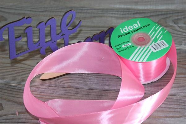 Ленты атласные 50 мм. цвет 3076 розовый IDEAL уп. 27,4 м - фото 29181