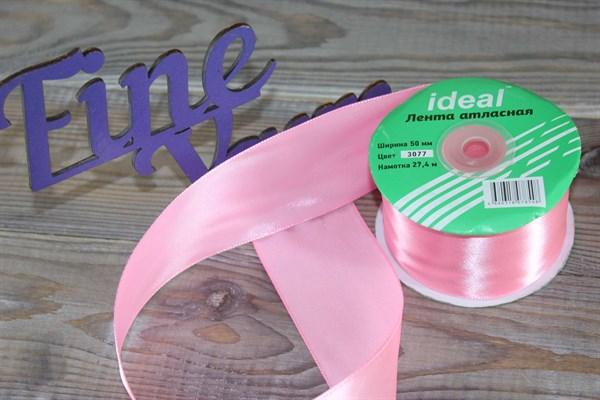 Ленты атласные 50 мм. цвет 3077 св. розовый IDEAL уп. 27,4 м - фото 29186