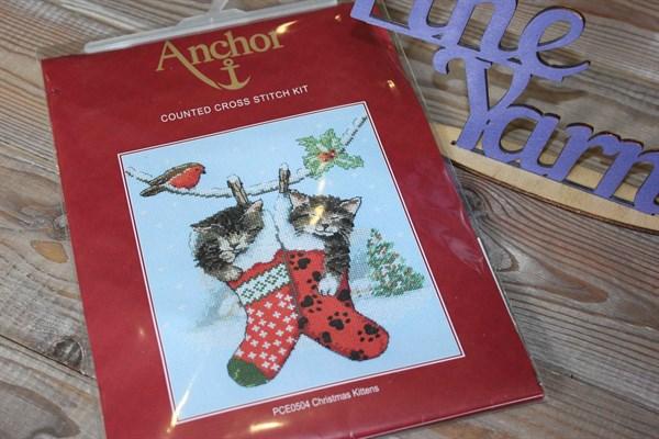 Набор для вышивания крестиком ANCHOR Рождественские котята арт: PCE0504 19,5*16,5 - фото 33066