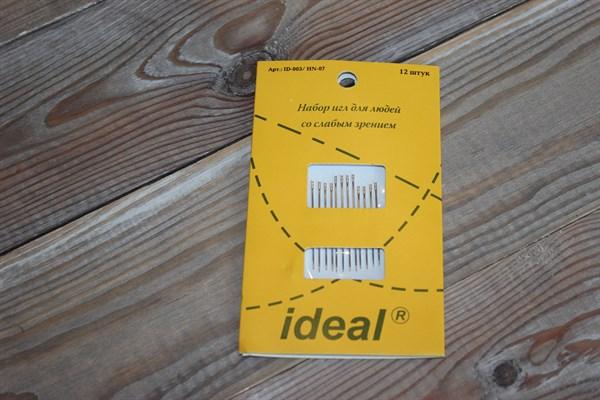 Иглы для шитья IDEAL для слабовидящих 12 шт.уп. - фото 33414