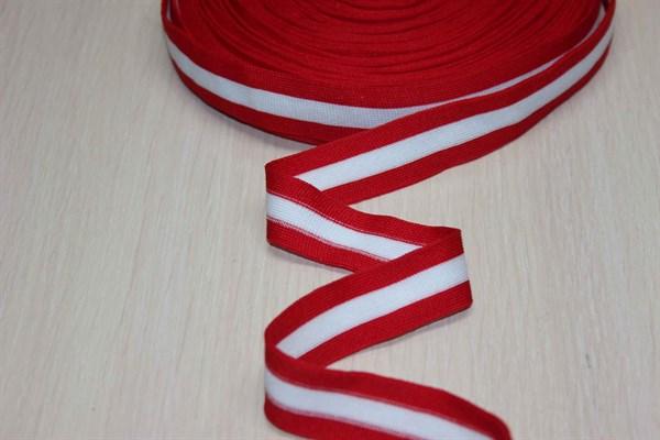 Лампасы белый-красный 25 мм - фото 34388