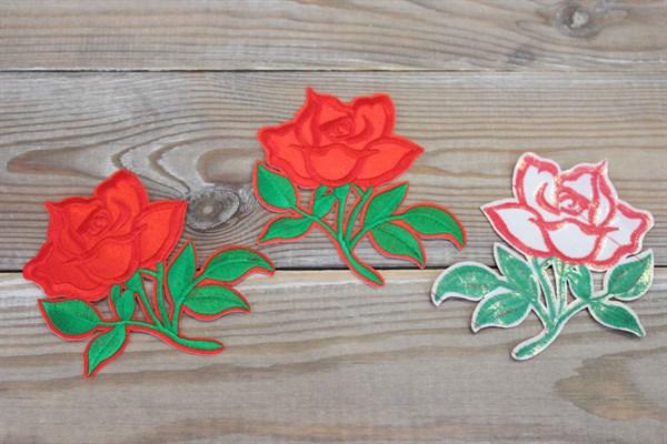 Термоаппликации вышитые Алая роза 8,5*9,5 см - фото 36035