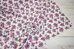 Штапель Мелкие розовые букеты на белом - фото 43144