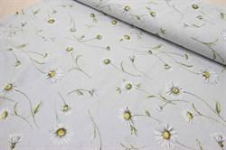 Бязь для постельного белья Милора компаньон (Ромашки на сером) 220 см - фото 43659