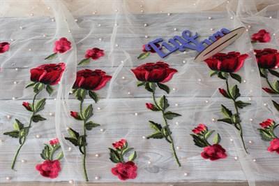 Сетка вышивка с бусинами Розы беж