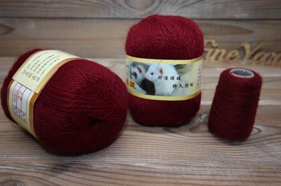 Пряжа Пух норки цвет 027 (бордо) Китай