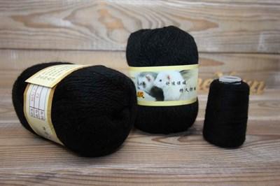 Пряжа Пух норки цвет 032 (черный) Китай