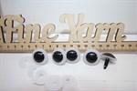 Глазки прозрачные 22 мм с фиксатором винтовые арт.35985 цвет белый, зрачок черный