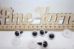 Глазки прозрачные 16 мм с фиксатором винтовые арт.35983 цвет белый, зрачок черный