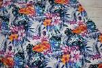 Марлевка Экзотические цветы и листья темно синий