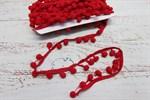 Тесьма с помпонами красный ширина 15-20 мм