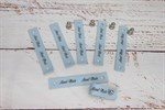 Кожаные бирочки на кнопке Голубой